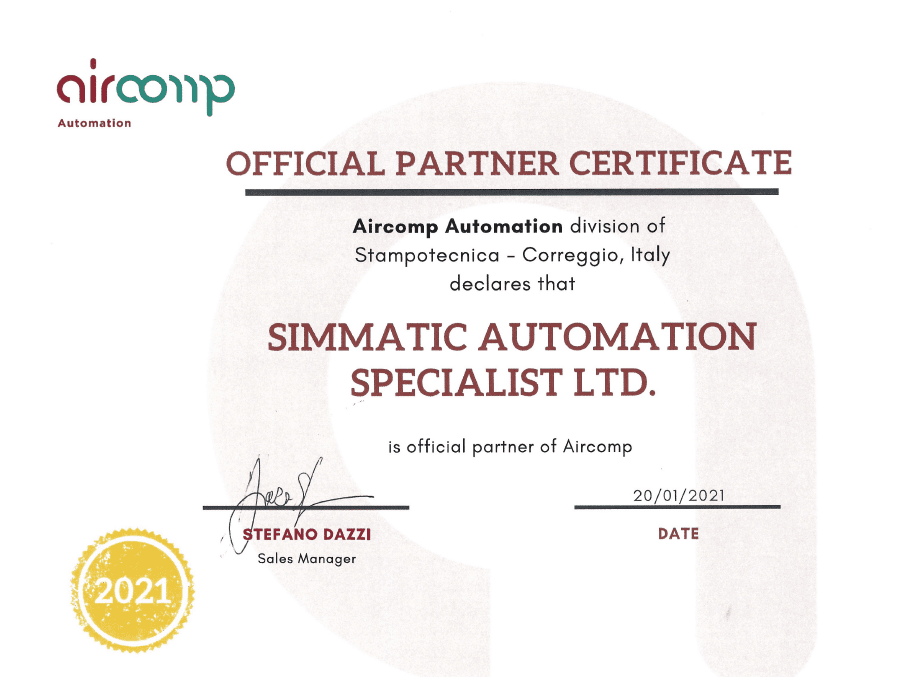 Simmatic Official Partner Certificate - Aircomp Automation - Stampotecnica